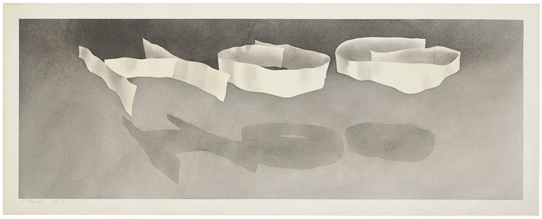 Ed Ruscha, Hog, 1970. Gunpowder on paper. Image 9¾ x 27¼ in (24.8 x 69.2 cm). Sheet 11½ x 29 in (29.2 x 73.7 cm). Estimate $250,000-350,000. Offered in the Post-War and Contemporary Art Morning Session on 14 November 2019 at Christie's New York