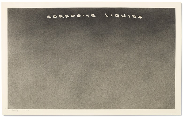 Ed Ruscha (b. 1937), Corrosive Liquids, executed in 1973. 14½ x 23 in (36.8 x 58.4 cm). Estimate $300,000-500,000. Offered in the Post-War and Contemporary Art Afternoon Session on 15 November 2019 at Christie's New York