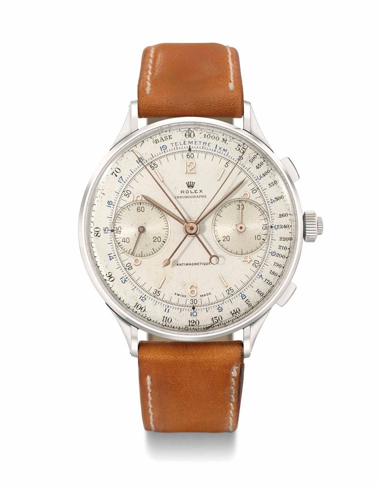 Rolex. An extraordinarily rare, oversized stainless-steel split-seconds chronograph wristwatch, Signed Rolex, Chronographe, Antimagnetique, ref. 4113, case no. 051314, manufactured in 1942. 44 mm diameter. Sold for CHF 1,107,750 on 13 May 2013 at Christie's in Geneva