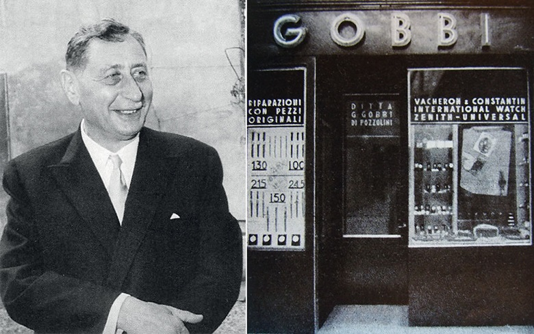 From left legendary watchmaker Louis Cottier, who miniaturised a system for telling the time in every part of the globe; Gobbi, the Milan watch retailer where the Ref. 2523 was sold in April 1957