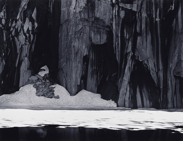 Ansel Adams (1902-1984), Frozen Lake and Cliffs, Sierra Nevada, California, 1932. Gelatin silver print. Imagesheet 9½ x 12⅜ in. (24.1 x 31.3 cm). Mount 15⅞ x 19⅝ in (40.3 x 50.4 cm).  Estimate $10,000-15,000. Offered in Ansel Adams and the American West Photographs from the Center for Creative Photography on 10 December 2019 at Christie's in New York. Artwork © The Ansel Adams