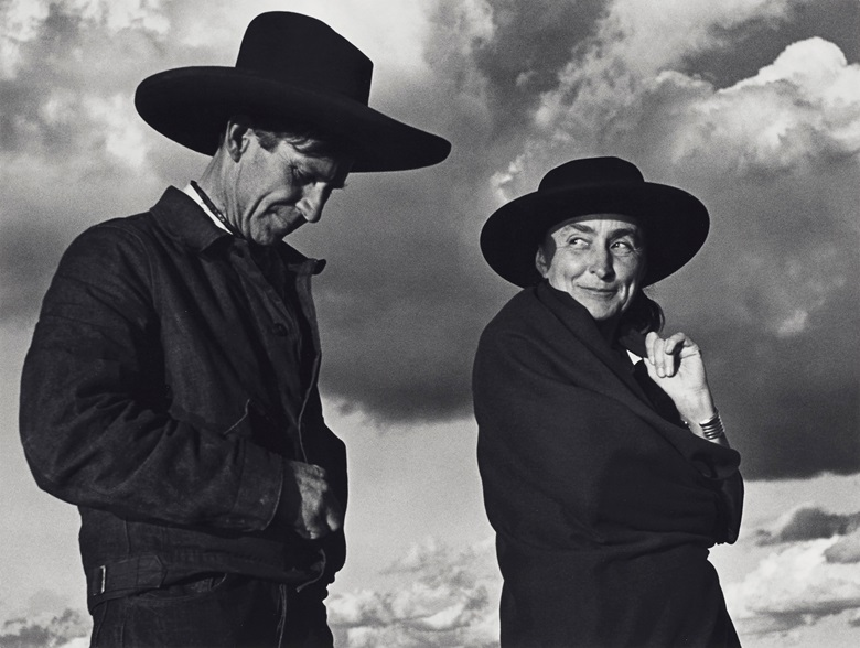 Ansel Adams (1902-1984). Georgia O'Keeffe and Orville Cox, Canyon de Chelly National Monument, Arizona, 1937. Gelatin silver print. Imagesheet 10 x 13¼ in (25.4 x 33.6 cm). Mount 16 x 20 in (40.6 x 50.7 cm). Estimate $12,000-18,000. Offered in Ansel Adams and the American West Photographs from the Center for Creative Photography on 10 December 2019 at Christie's in New York. Artwork © The