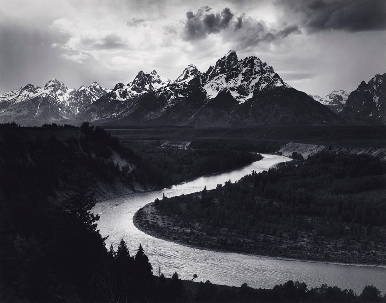 Ansel Adams (1902-1984). The Tetons and the Snake River, Grand Teton National Park, Wyoming, 1942. Gelatin silver print. Imagesheet 10½ x 13⅜ in. (26.7 x 33.8 cm). Mount 14 x 18 in (35.6 x 45.7 cm). Estimate $20,000-30,000. Offered in Ansel Adams and the American West Photographs from the Center for Creative Photography on 10 December 2019 at Christie's in New York. Artwork © The Ansel