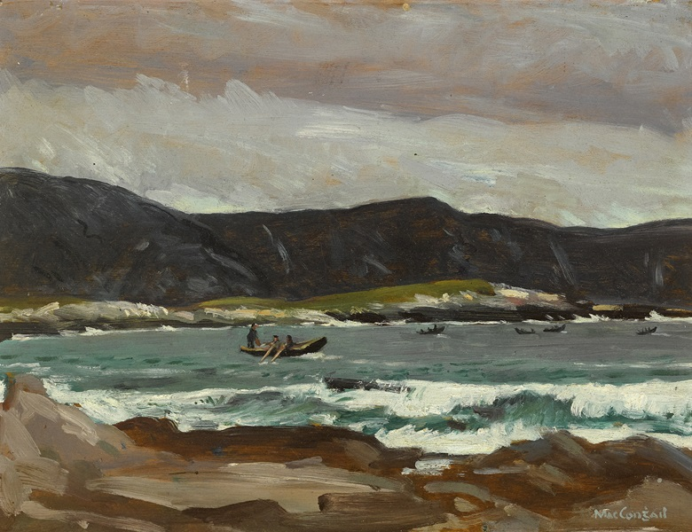 Maurice MacGonigal (1900-1979), Currachs Fishing (Off Achill), circa 1936. Oil on canvas. 11½ x 15 in (29.21 x 38.10 cm). Estimate €2,000-€3,000. Offered in the Ernie O'Malley Collection in association with Christie's on 25 November at Whytes in Dublin