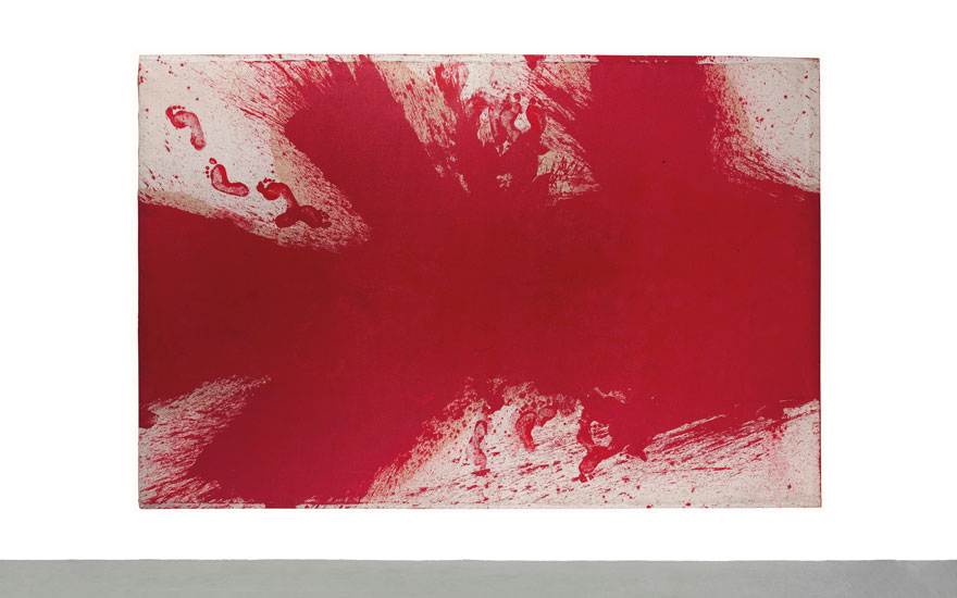 Hermann Nitsch (b. 1938), Schüttbild, executed in 1986. Oil on burlap over a wooden stretcher. 200 x 300 cm. Estimate €30,000-50,000. Offered in Post-War & Contemporary Art on 25-26