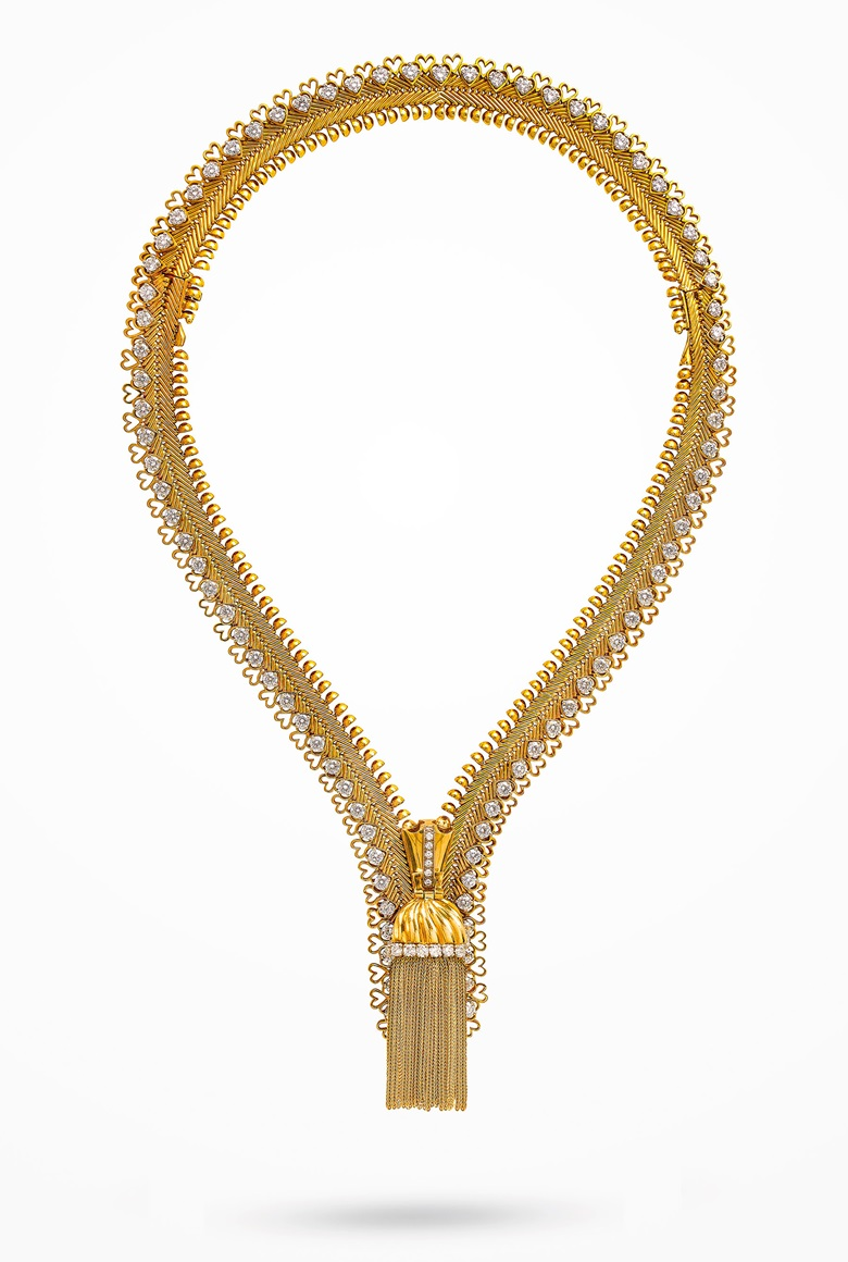 Diamond 'Zip' necklace, Van Cleef & Arpels, circular-cut diamonds, platinum and gold (french marks), transformable for wear as a bracelet, necklace 40.5 cm, bracelet 17.3 cm. Signed Van Cleef & Arpels, no. ml3781. Estimate CHF 170,000-270,000. Offered in Magnificent Jewels on 12 November 2019 at Christie's in Geneva
