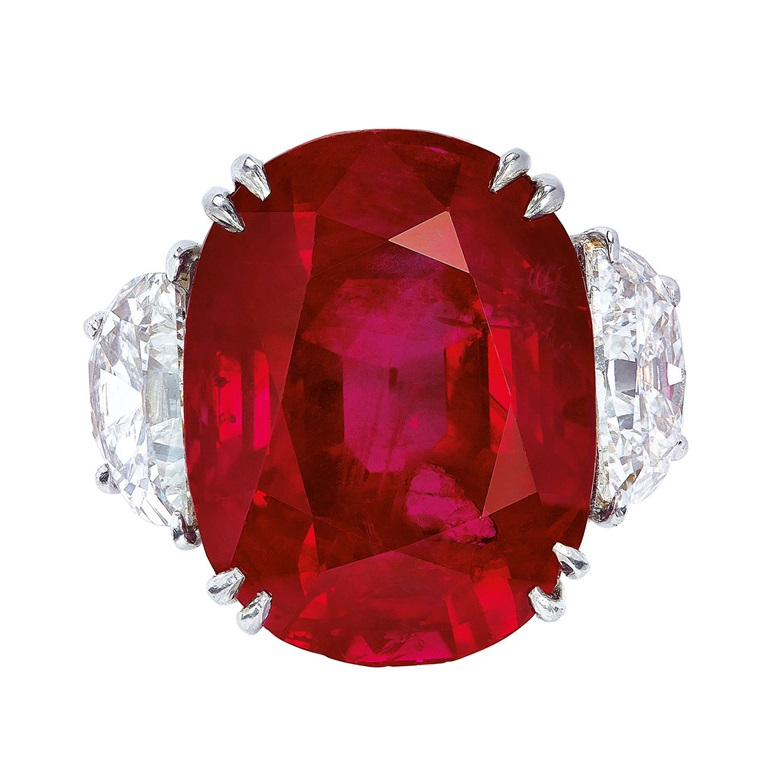 An exceptional ruby and diamond ring, Harry Winston. Sold for CHF 7,198,500 on 15 May 2019 at Christie's in Geneva
