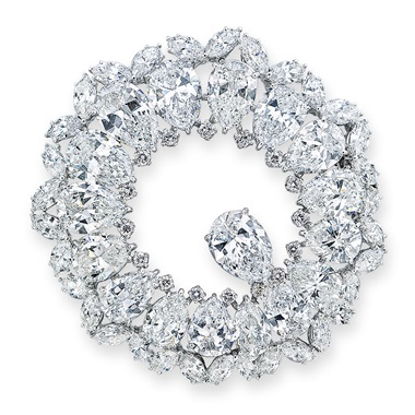 A diamond brooch, Harry Winston. Seventeen pear-shaped diamonds, marquise and circular-cut diamonds, platinum, 4.7 cm, maker's mark. Estimate HK$800,000-1,200,000. Offered in Hong Kong Magnificent Jewels on 26 November 2019 at Christie's in Hong Kong
