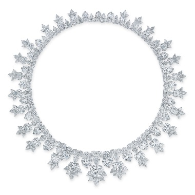 An important diamond necklace, Harry Winston. Heart, marquise, pear and circular-cut diamonds, the front seven heart brilliant-cut diamonds, platinum, 44.0 cm, signed Winston. Estimate HK$3,800,000-5,800,000. Offered in Hong Kong Magnificent Jewels on 26 November 2019 at Christie's in Hong Kong
