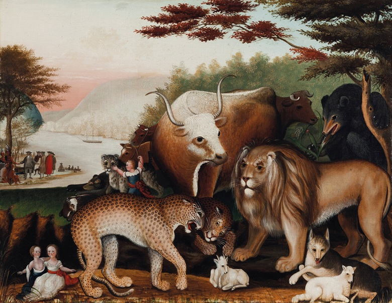 Edward Hicks (1780-1849), Peaceable Kingdom, painted 1844-1846. Oil on canvas. 24 x 31¼ in. Offered in Important American Furniture, Folk Art and Silver on 24 January 2020 at Christie's in New York