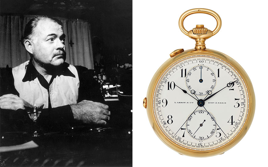 From left Ernest Hemingway, Cortina d'Ampezzo, Italy circa 1945. Photo Hulton ArchiveGetty Images. The pocket watch given to Hemingway by Charles Ritz as a wedding present in 1946