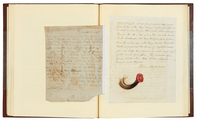 The reverse of the forged Shakespeare letter to Anne Hathaway by William Henry Ireland, including a lock of hair
