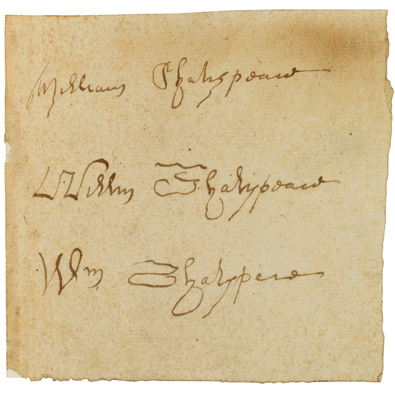Shakespeare's 'signature', on the autograph manuscripts forged by William Henry Ireland. Sold for £11,000 on 11 December 2019 at Christies in London