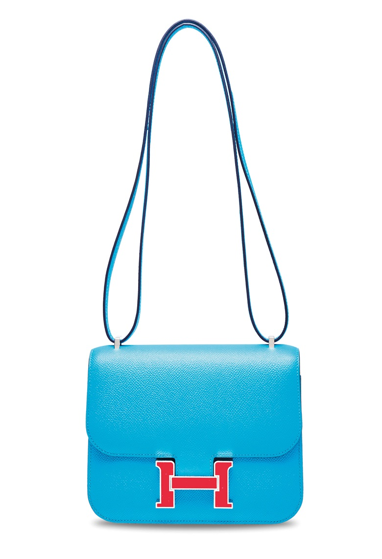 A bleu du nord epsom leather mini Constance 18 with rouge coeur enamel hardware, Hermès, 2019. 18 w x 15 h x 4 d cm. Sold for HK$87,500 on 25 November 2019 at Christie's in Hong Kong