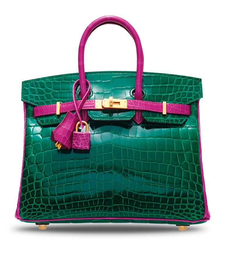 A custom shiny vert émeraude & rose schéhérazade niloticus crocodile Birkin 25 with brushed gold hardware, Hermès, 2018. 25 w x 19 h x 13 d cm. Sold for HK$812,500 on 25 November 2019 at Christie's in Hong Kong