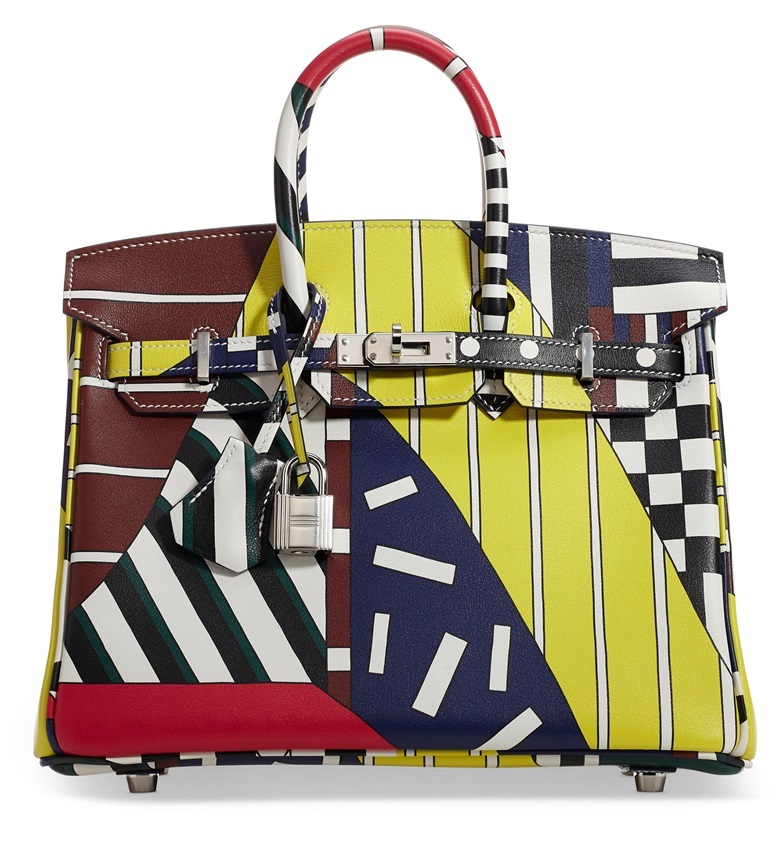 A limited edition multicolour swift leather One Two Three & Away We Go  Birkin 25 with palladium hardware by Nigel Peake, Hermès, 2018. 25 w x 19 h x 13 d cm. Sold for $47,500, December 2019, Online