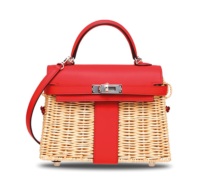 A limited edition rouge de coeur swift leather & osier mini Picnic Kelly with palladium hardware, Hermès, 2019. 18.5 w x 13.5 h x 7 d cm. Sold for HK$800,000 on 25 November 2019 at Christie's in Hong Kong
