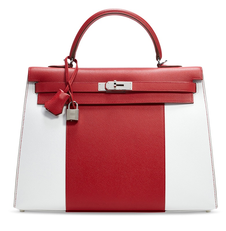 A limited edition rouge vif & white epsom leather flag Kelly 35 with palladium hardware, Hermès, 2014. 35 w x 27 h x 13.5 d cm. Sold for $13,750, December 2019, Online