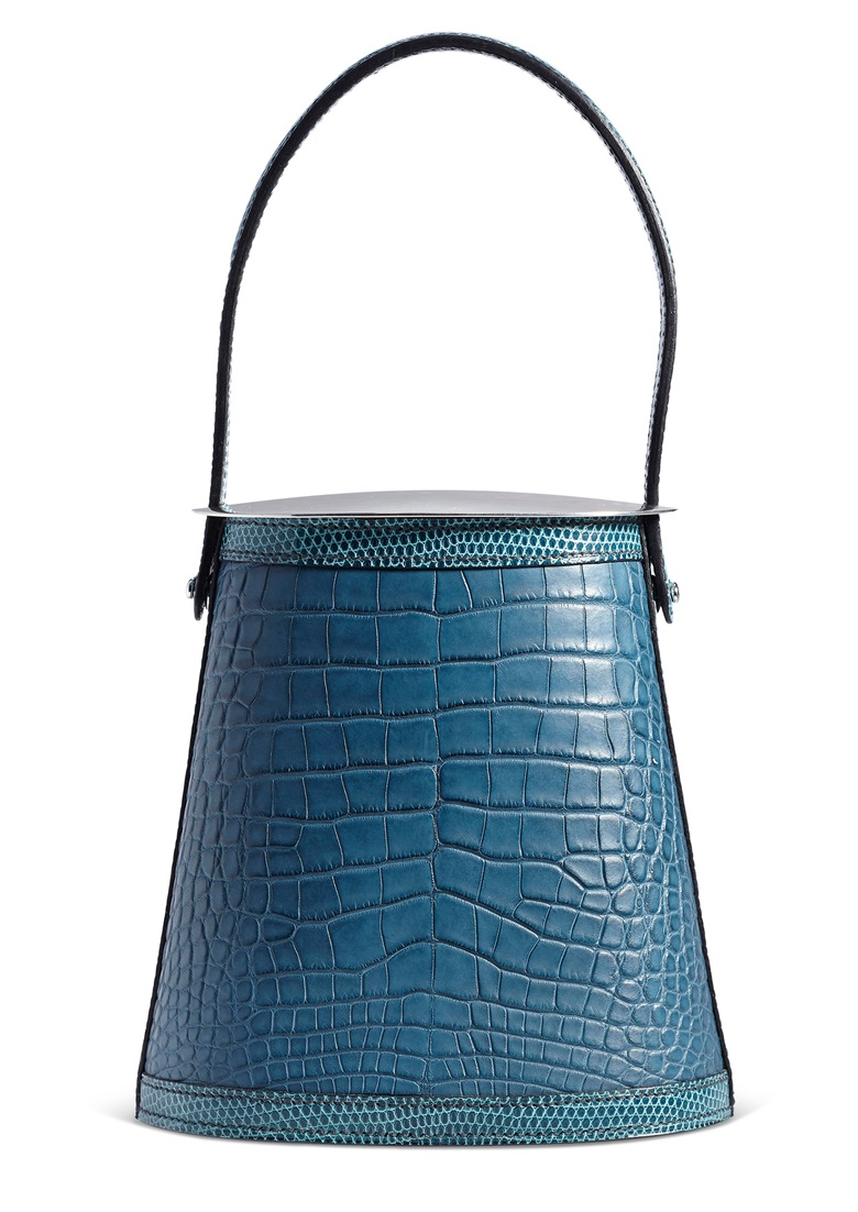 A matte colvert alligator & bleu petrol shiny niloticus lizard Stromboli Bag with sterling silver hardware and lid, Hermès, 2015. 14.5 w x 15 h x 9 d cm. Estimate $10,000-12,000. Offered in Handbags X HYPE, 26 November to 10 December 2019, Online