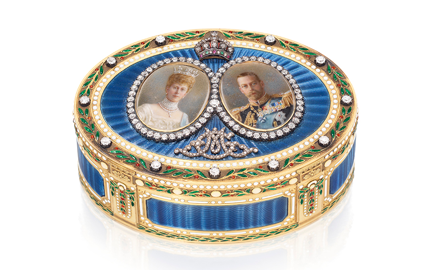 A George V jewelled enamelled gold royal presentation snuff-box, mark of Sebastian Garrard, London, 1911. 3⅜ in (85 mm) wide. Estimate £30,000-50,000. Offered in Property from Descendants of Their