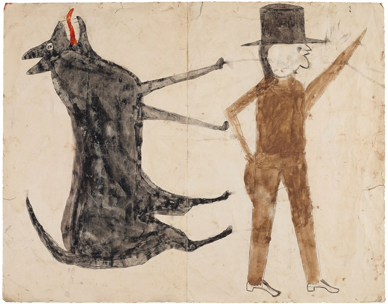 The reverse side of the painting featuring the picture Man with Black Dog (double-sided), 1939-1942. Tempera and graphite on repurposed paper. 18⅞ x 24 in (48 x 61 cm). Estimate $200,000-400,000. Property from the Collection of Alice Walker, offered in the Outsider Art sale at Christie's New York on 17 January 2020