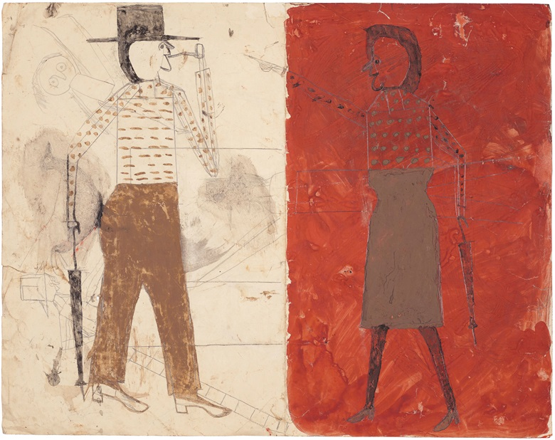 Bill Traylor (Circa 1853-1949), Man on White, Woman on Red  Man with Black Dog (double-sided), 1939-1942, tempera and graphite on repurposed paper, 18⅞ x 24 in (48 x 61 cm). Estimate $200,000-400,000. Property from the Collection of Alice Walker, offered in the Outsider Art sale at Christie's New York on 17 January 2020