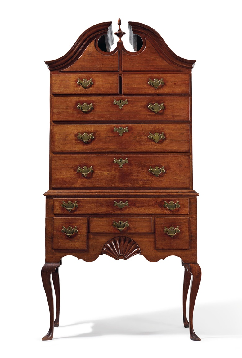 The Gould family Queen Anne carved walnut high chest-of-drawers, Newport, 1750-1770. Estimate $300,000-400,000. Offered in Important American Furniture, Folk Art and Silver on 24 January 2020 at Christie's in New York