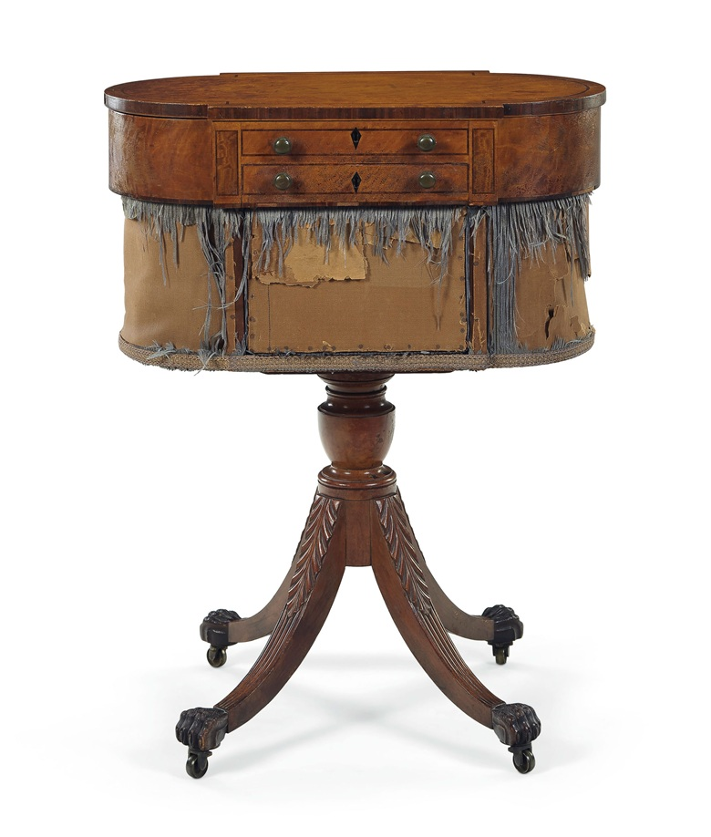A classical carved mahogany and inlaid satinwood work table, New York, 1810-1815. Estimate $25,000-35,000. Offered in Important American Furniture, Folk Art and Silver on 24 January 2020 at Christie's in New York