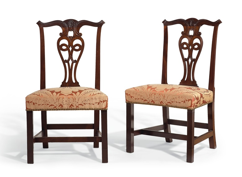 The Christopher Champlin pair of Chippendale carved mahogany stop-fluted side chairs, Newport, 1770-1785. Estimate $20,000-30,000. Offered in Important American Furniture, Folk Art and Silver on 24 January 2020 at Christie's in New York