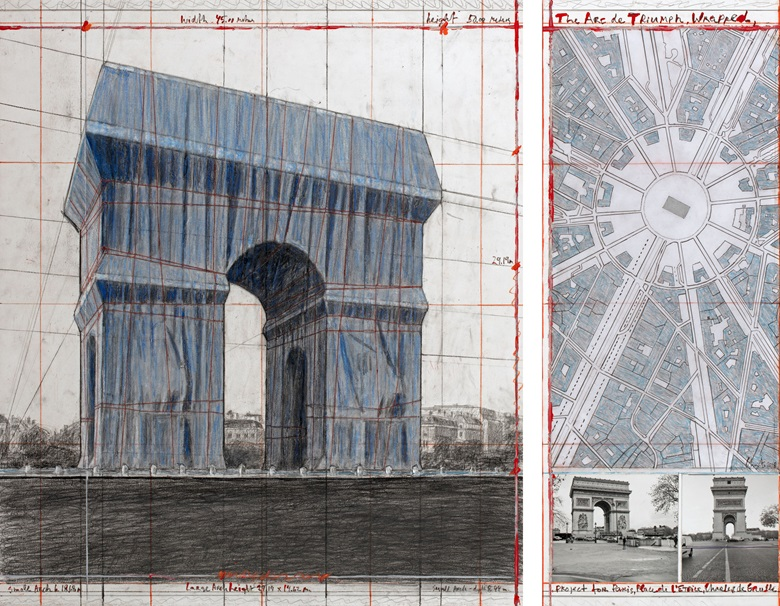 Christo, The Arc de Triumph (Project for Paris, Place de lEtoile – Charles de Gaulle) Wrapped. Collage 2018 in two parts. Pencil, charcoal, wax crayon, fabric, twine, enamel paint, photograph by Wolfgang Volz, hand-drawn map and tape. Photo André Grossmann. © 2018 Christo