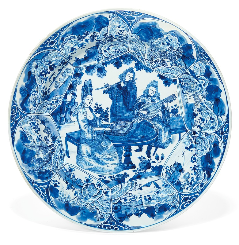 A blue and white 'musicians' dish, Kangxi period (1662-1722). 13½ in (34.2 cm) diameter. Estimate $8,000-12,000. Offered in Chinese Export Art featuring the Tibor Collection, Part II on 24 January 2020 at Christie's in New York