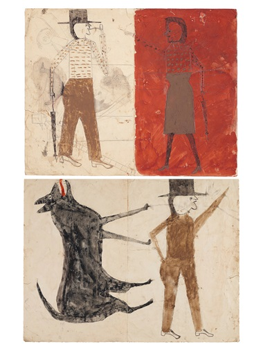 Bill Traylor (circa 1853-1949), Man on White, Woman on RedMan with Black Dog, double sided, 1939-1942. Tempera and graphite on paper. 18⅞ x 24 in (47.9 x 60.1 cm). Sold for $507,000 on 17 January 2020 at Christie's in New York