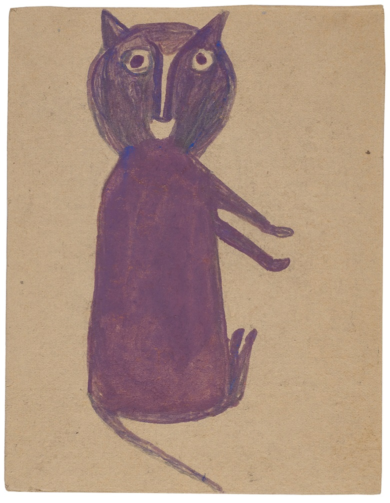 Bill Traylor (circa 1853-1949), Purple Cat, 1939-1942. Tempera and graphite on repurposed card. 9¾ x 7½ in. Estimate $25,000-50,000. Offered in Outsider Art on 17 January 2020 at Christie's in New York