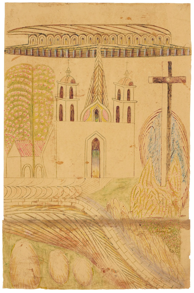 Martín Ramírez (1885-1963), Untitled (Church and Cross), circa 1953. Estimate $25,000-50,000. Offered in Outsider Art on 17 January 2020 at Christie's in New York