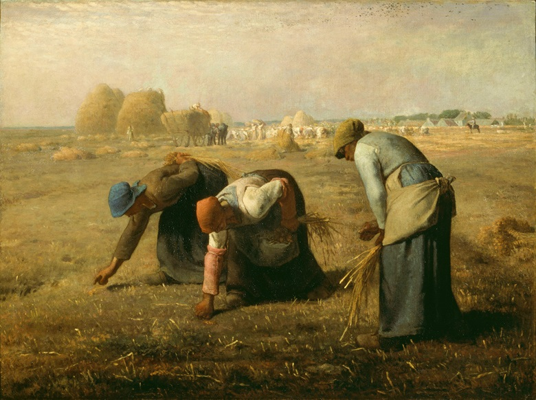 Jean-François Millet, The Gleaners, 1857. Musée d'Orsay, Paris (donation subject to usufruct of Mrs. Pommery)