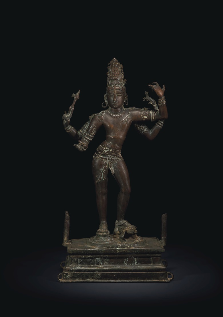 A rare and magnificent bronze figure of Shiva Tripuravijaya, South India, Tamil Nadu, Chola period, early 11th century. 32⅜ in (82.3 cm) high. Estimate $1,000,000-1,500,000. Offered in Sacred and Imperial The James and Marilynn Alsdorf Collection Part I on 24 September at Christie's in New York