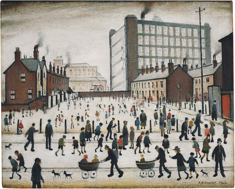 Laurence Stephen Lowry (1887-1976), The Mill, Pendlebury, 1943. Oil on canvas. 17⅜ x 21½ in (44.1 x 54 cm). Estimate £700,000-1,000,000. Offered in Modern British Art Evening Sale on 21 January at Christie's in London