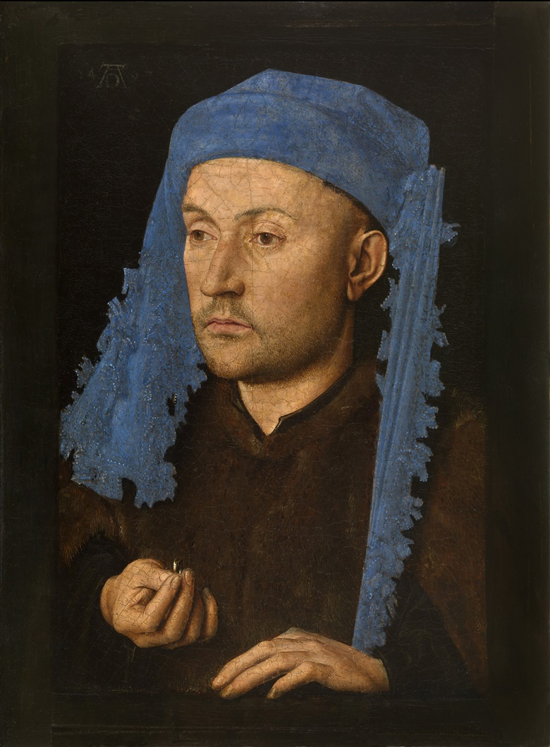 Jan van Eyck (Maaseik, c.1390-Bruges, 1441), Portrait of a Man with a Blue Chaperon, c.1428-1430. Oil on panel. 22 x 17 cm. Muzeul National Brukenthal, Sibiu (Romania)