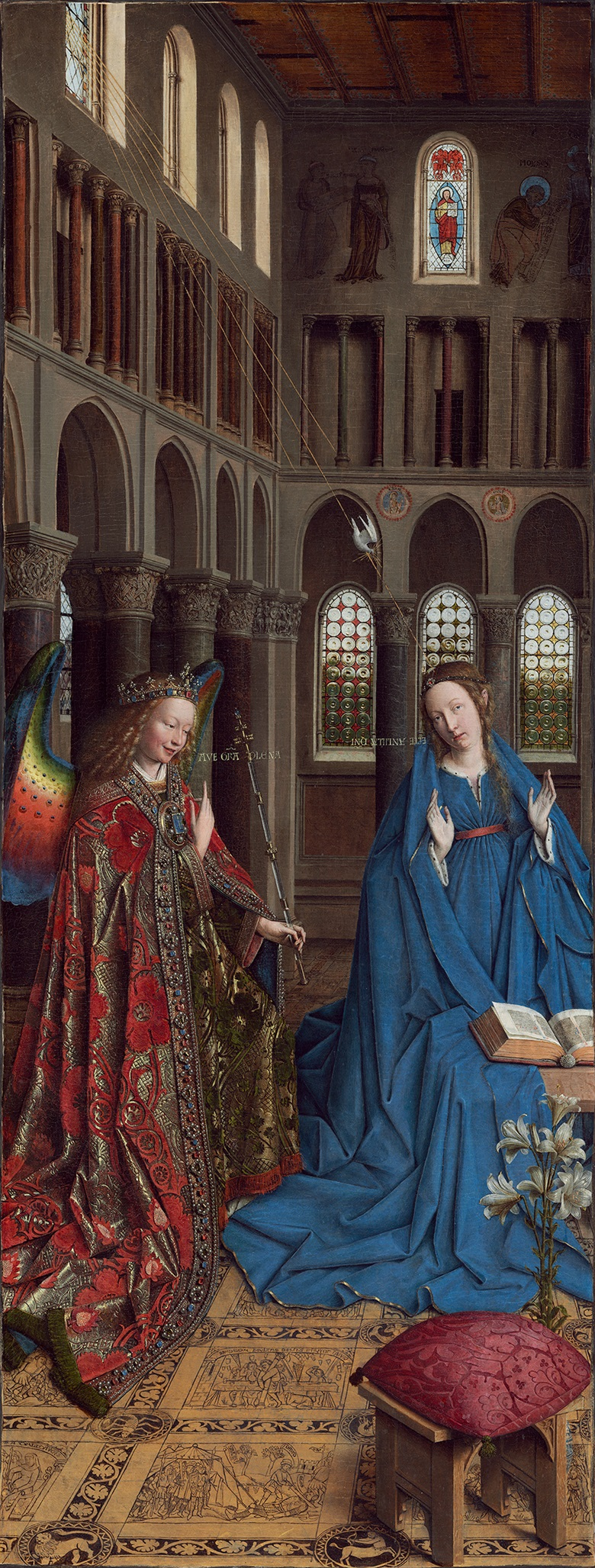 Jan van Eyck (c. 1390-1441), The Annunciation, c.1434-1436. Oil on panel, transferred onto canvas. 92.7 x 36.7 cm. National Gallery of Art, Washington, Andrew W. Mellon Collection