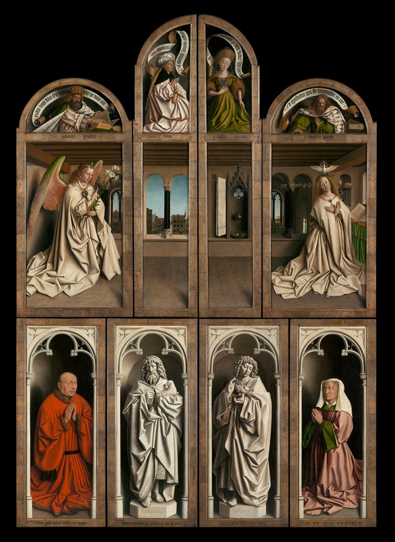 Jan (c.1390-1441) and Hubert van Eyck (c. 13661370-1426), The Adoration of the Mystic Lamb, 1432. Outer panels of the closed altarpiece. Oil on panel. Saint Bavo's Cathedral, Ghent © www.lukasweb.be