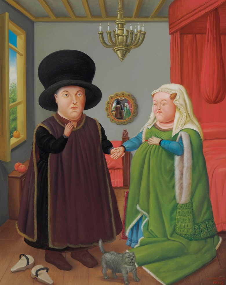 Fernando Botero (Colombian b. 1932), The Arnolfini (after Van Eyck), 1997. Oil on canvas. 52¾ x 42 in (134 x 106.7 cm). Sold for $842,500 on 22-23 May 2012 at Christie's in New York. Artwork © Fernando Botero, reproduced by permission