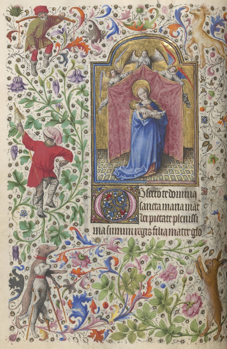 Master of the Llangattock Hours and Willem Vrelant (Southern Netherlands, active 1454-1481), The Llangattock Hours, c. 1450, The Annunciation. Tempera, gold leaf, gold paint and ink on parchment. 264 x 184 mm. J. Paul Getty Museum, Los Angeles
