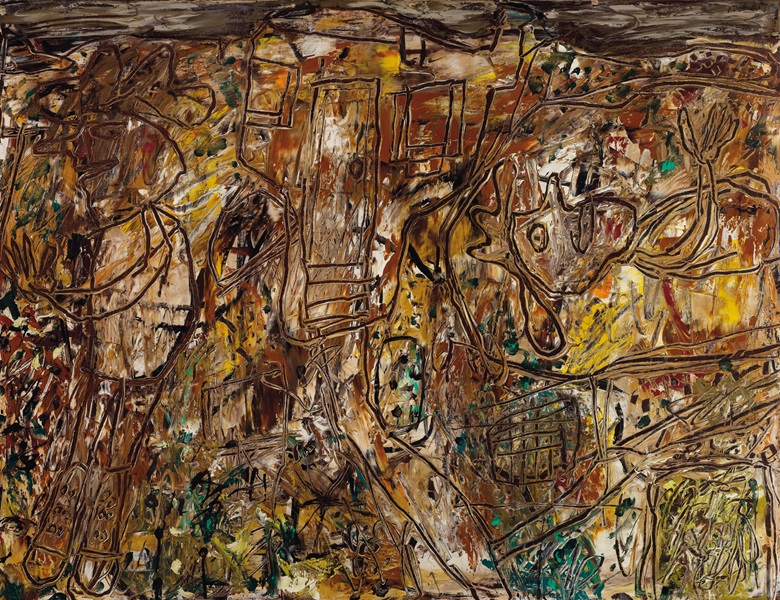 Jean Dubuffet (1901-1985), Alentour la maison, painted in June 1957. Oil on canvas. 35⅛ x 45⅝ in (89 x 116 cm). Sold for £1,271,250 on 12 February 2020 at Christie's in London