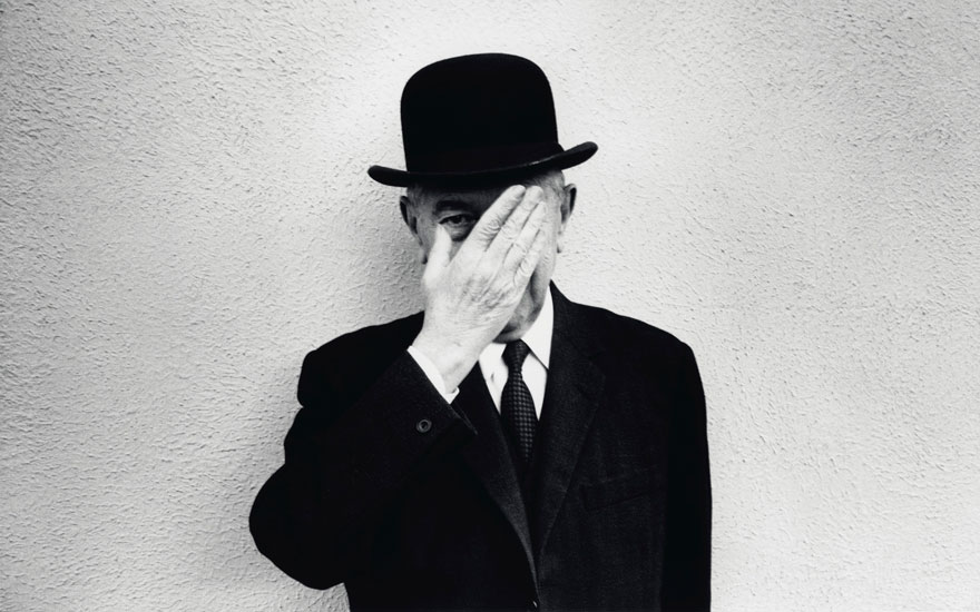 René Magritte, 1965. © Duane Michals, Courtesy of DC Moore Gallery