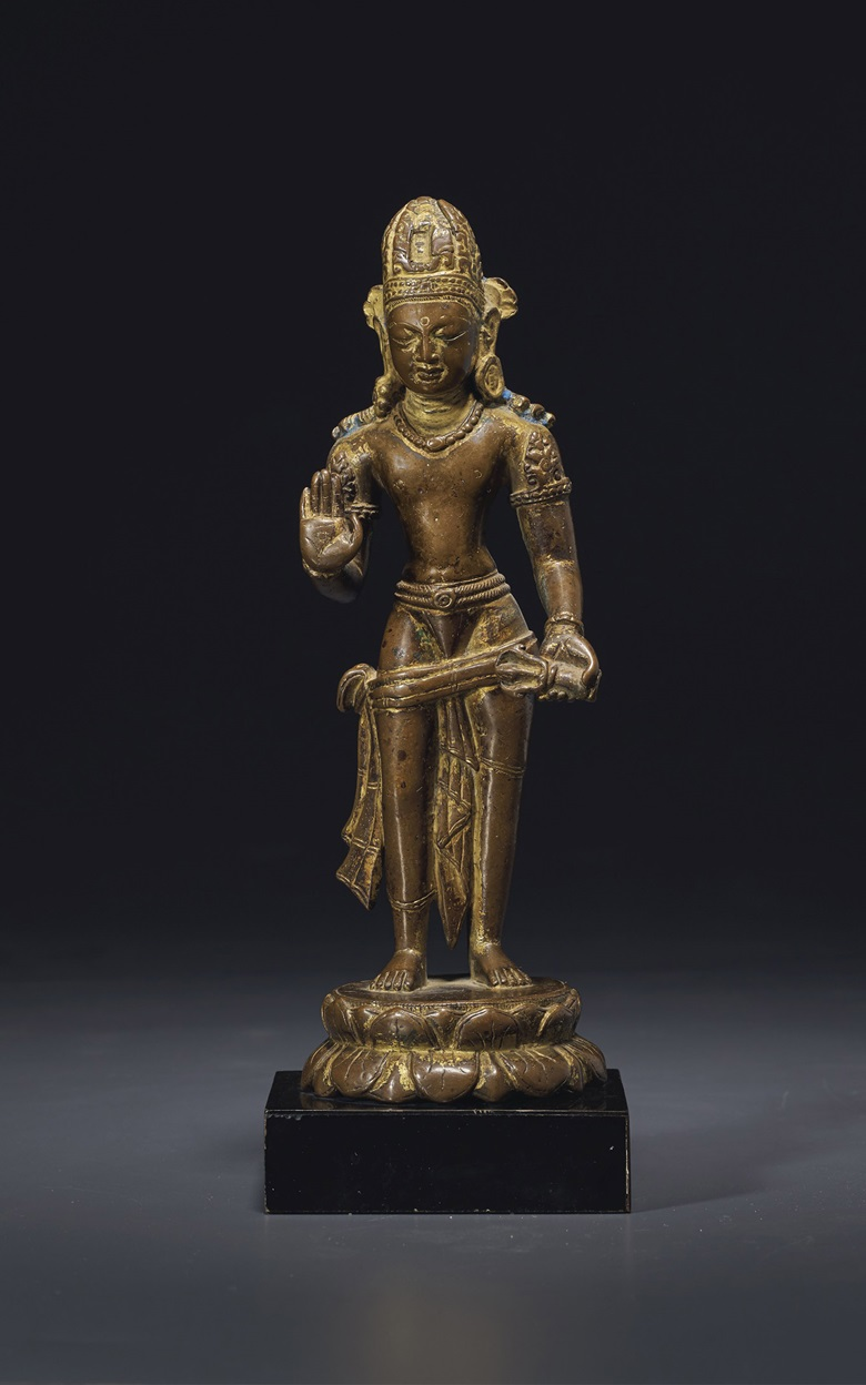 A rare gilt-bronze figure of Vajrapani, Nepal, Licchavi Period, 9th-10th century. 9½ in (24.1 cm) high. Estimate $60,000-80,000. Offered in Sacred and Imperial The James and Marilynn Alsdorf Collection Part I on 24 September at Christie's in New York