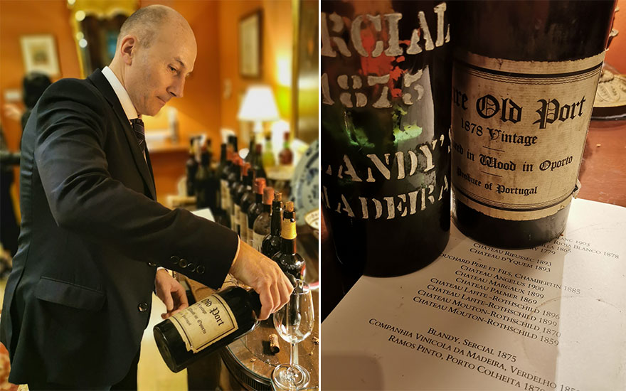 Christie's International Director of Wine Tim Tiptree pours some superb 1878 port; a list of the wines tasted on a very special evening