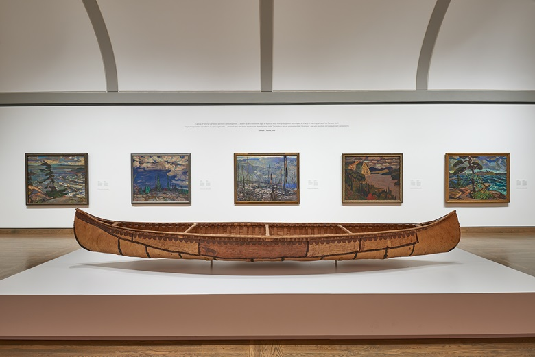Installation view of the Canadian and Indigenous Galleries, National Gallery of Canada, Ottawa. From left F.H. Varley, Stormy Weather, Georgian Bay, 1921; A.Y. Jackson, Terre Sauvage, 1913, © A Y Jackson, DACS 2020; Franz Johnston, Fire-swept, Algoma, 1920; J.E.H. MacDonald, The Solemn Land, 1921; Arthur Lismer, A September Gale, Georgian Bay, 1921 © Estate of Arthur Lismer;