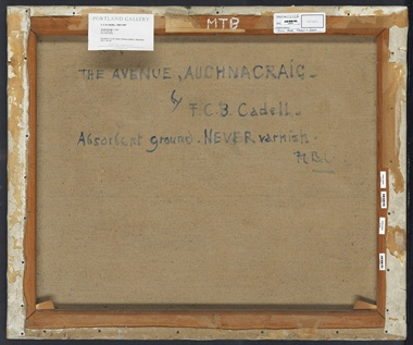 F.C.B. Cadell left clear instructions on the back of his works about how to care for them in the future