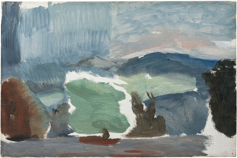 Ivon Hitchens (1893-1979), Hills and Darkening Sky Rain over the Downs. Oil on canvas. 12½ x 18½  in (31.7 x 47  cm). Sold for £32,500 on 23 January 2020 at Christie's in London. Artwork © The Estate of Ivon Hitchens. All rights reserved, DACS 2020
