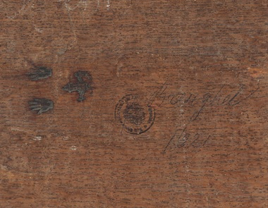 The reverse of a 16th-century oil painting panel showing the brand of the city of Antwerp — a pair of hands above a castle. The mark dates from 1617, when new regulations drawn up by the Antwerp Joiners' Guild stated 'every joiner is from now on obliged to punch his mark on frames and panels made by him, on pain of a fine of three guilders'